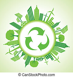 Eco cityscape around a recycle icon stock vector