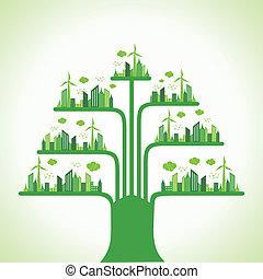 Eco cityscape make a tree