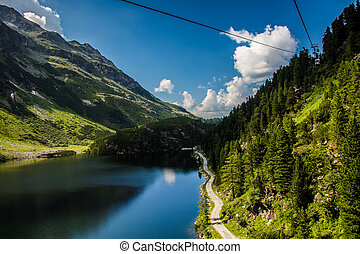 Austria Kaprun panorama - The Kaprun reservoir in the high...