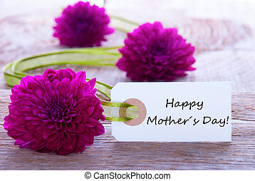 Label with Happy Mothers Day and Purple Flowers and Green...