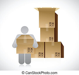 icon and set of boxes. packing concept