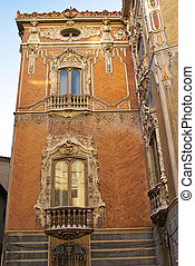 Historic  buildings with lace fronts of city Valencia  Spain