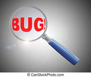 3d magnifier over word bug - 3d rendering of a magnifying...
