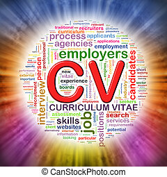 Word tags circular wordcloud of CV - Illustration of...