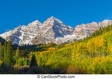 Autumn at Maroon Bells - scenic maroon bells near aspen...