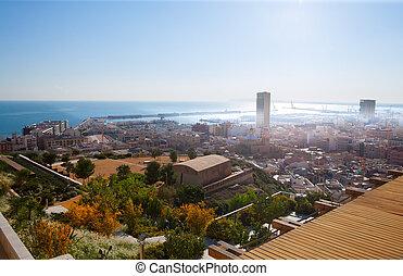 Alicante cityscape skyline in mediterranean sea Valencian...