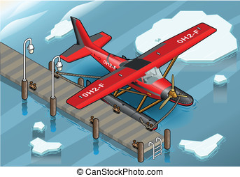 Isometric Artic Hydroplane at Pier - detailed illustration...