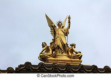 Golden statue of Angel on the top of the Garnier Opera in Paris, France