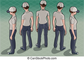 Isometric Service Woman in Five Positions - Detailed...