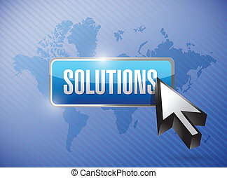 solutions button and cursor over a world map illustration...