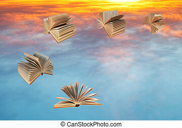 books fly over sunset clouds - books fly over blue and...