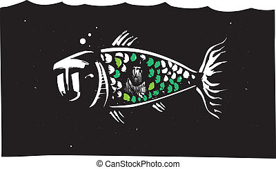 Jonah and the Whale - Woodcut style image of biblical Jonah...