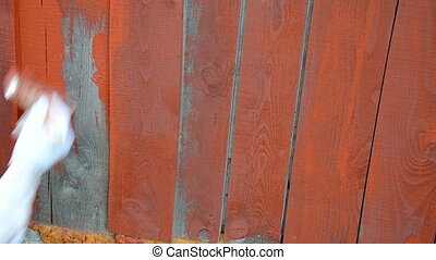 hand paint wooden wall - hand paint outdoor wooden plank...
