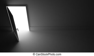 Light from Open door in dark room