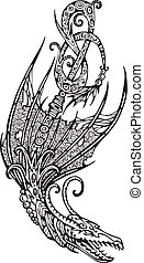 Stylized winged dragon tattoo. Black and white vector...