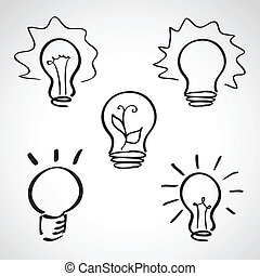 Ink style sketch set - lightbulb icons - Ink style hand...