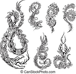 Stylized dragon tattos - Stylized dragon tattoos Set of...