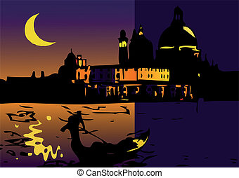 Night in Venice with Moon