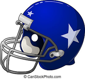 Blue Football Helmet - A vector illustration of a blue...