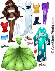 African American Girl Princess Dress Up - A vector...