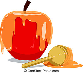 Apple And Honey For Rosh Hashanah - Vector illustration of...