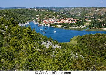 Skradin - small city on Adriatic coast in Croatia, at the...