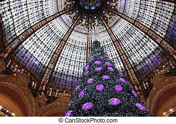 Natal, árvore, Galeries, Lafayette, Paris,...