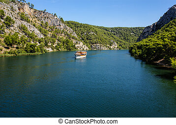 Skradin - small city on Adriatic coast in Croatia, at the...