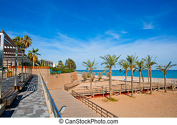Benicasim in Castellon Benicassim beach at Mediterranean -...