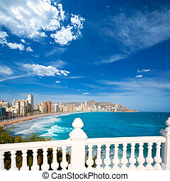 Benidorm balcon del Mediterraneo sea from white balustrade -...