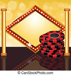 Poker time - Vector illustration of poker chips with banner...
