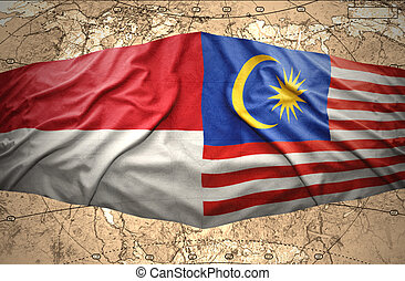 Malaysia and Indonesia - Waving Malaysian and Indonesian...