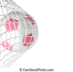 Goal--Pink Soccer Ball in Net - Pink soccer ball in goal...
