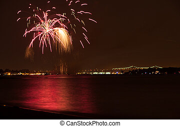Fireworks - fireworks over the Raritan River on the 4th of...