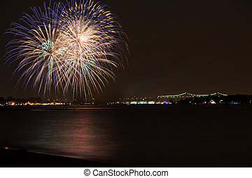 Fireworks - fireworks over the Raritan River on 4th of July