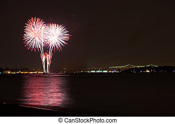 Fireworks - fireworks over the Raritan River on 4th of Juy