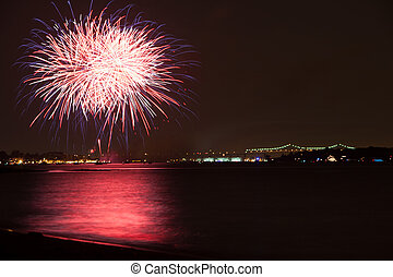 Fireworks - fireworks over the raritan river on 4th or July