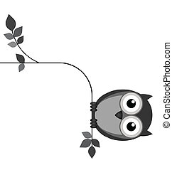 Fat Owl - Fat owl sat on a thin branch isolated on white...