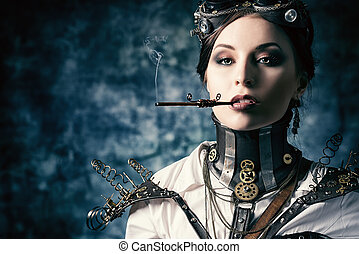 victorian - Portrait of a beautiful steampunk woman over...