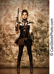 strong position - Portrait of a beautiful steampunk woman...