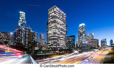 Downtown Los Angeles at night - Long exposure overlooking...