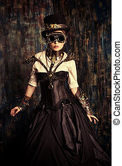 post-apocalypse - Portrait of a beautiful steampunk woman...