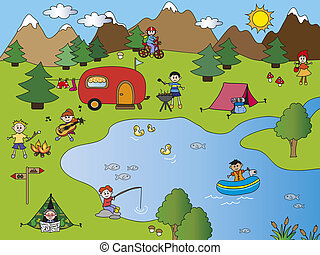 camping - illustration with camping in the mountains in the...