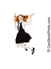 beginning - Cheerful ten years girl jumping for joy Isolated...