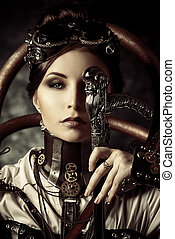 attractive - Portrait of a beautiful steampunk woman over...