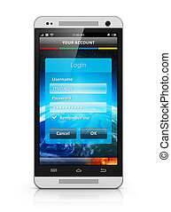 Login screen on smartphone - Account authorization interface...