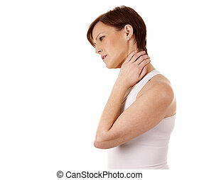 woman having a neck pain - woman witha neck pain wearing...
