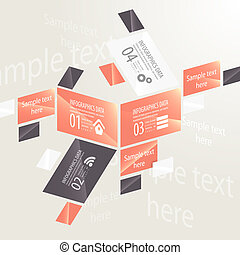 Modern design infographic template. Numbered banners....