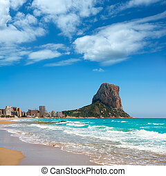 Calpe Alicante Arenal Bol beach with Penon de Ifach mountain...
