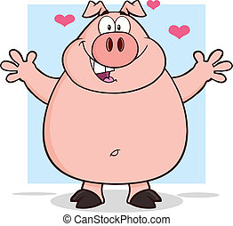 Happy Pig Character Open Arms - Happy Pig Cartoon Mascot...